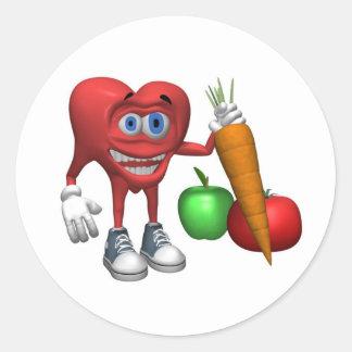 Klistermärke-Vård- hjärtafrukter och Veggies Runt Klistermärke