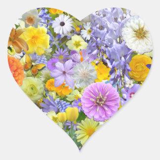 Klistermärkear - blommor och fjärilar hjärtformat klistermärke