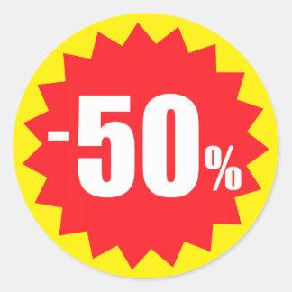 klistermärkear för 50 procent rearabatt, gult och runt klistermärke