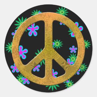 Klistermärkear för 60-tal för fredsymbolblomma runt klistermärke