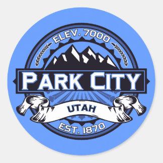 Klistermärkear för blått för himmel för Park City Runt Klistermärke