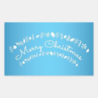 Klistermärkear för blått- och vitgod julrektangel rektangulärt klistermärke