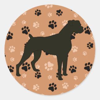 Klistermärkear för boxarehundSilhoette tass Runt Klistermärke
