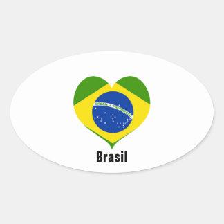 Klistermärkear för Brasil hjärtaoval Ovalt Klistermärke