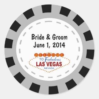Klistermärkear för bröllop för Las Vegas pokerchip Runt Klistermärke