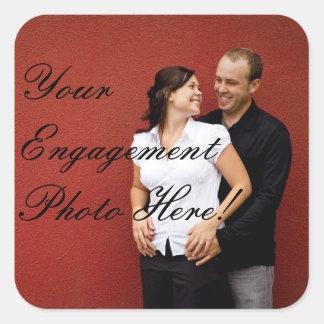 Klistermärkear för bröllopförlovningfoto kvadrerar fyrkantigt klistermärke