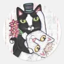 Klistermärkear för bröllopkattdans runt klistermärke