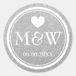 Klistermärkear för favör för bröllop för runt klistermärke