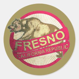 Klistermärkear för Fresno Kalifornien vintagebjörn Runt Klistermärke