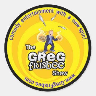 Klistermärkear för Greg FrisbeeShow Runt Klistermärke