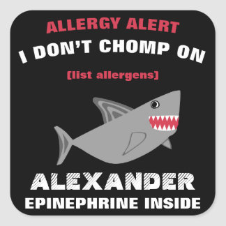 Klistermärkear för haj för åtskillig matallergi fyrkantigt klistermärke