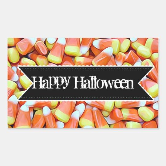 Klistermärkear för happy halloweengodiscandy corn rektangulärt klistermärke