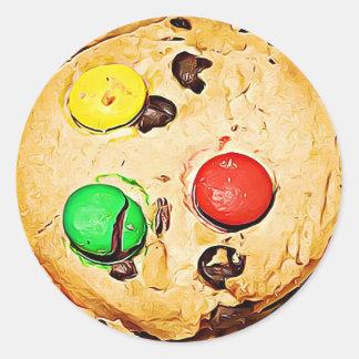 Klistermärkear för kakor för chokladchipgodis runt klistermärke