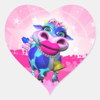 Klistermärkear för Kissy muhjärta Hjärtformat Klistermärke