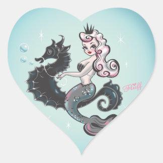 Klistermärkear för Pearla sjöjungfruhjärta Hjärtformat Klistermärke