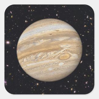 Klistermärkear för planetJupiter Starry himmel Fyrkantigt Klistermärke