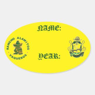 Klistermärkear för Rancho Alamitos mötenamn Ovalt Klistermärke