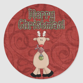 Klistermärkear för ren för julsamling roliga runt klistermärke