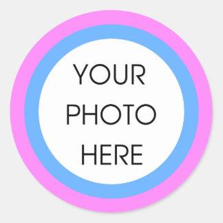 Klistermärkear för rosa- och blåttgränsmall runt klistermärke