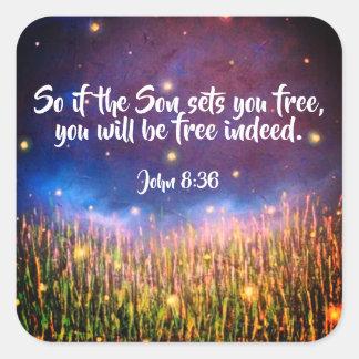 Klistermärkear för Scripture för bibel för John Fyrkantigt Klistermärke