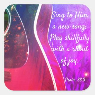 Klistermärkear för Scripture för Psalm33:3 kristna Fyrkantigt Klistermärke