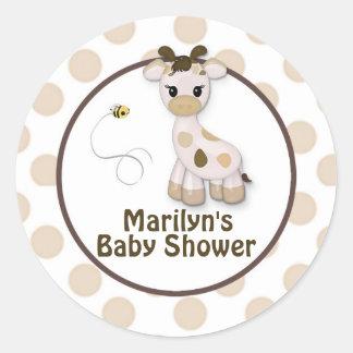 Klistermärkear för Snickerdoodle giraffbaby shower Runt Klistermärke