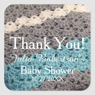 Klistermärkear för tack för baby shower för fyrkantigt klistermärke