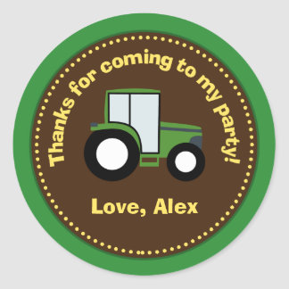 Klistermärkear för traktorfödelsedagsfestfavör runt klistermärke