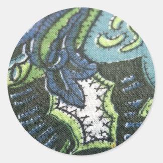Klistermärkear för tyg för vintagePaisley design Runt Klistermärke