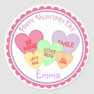 Klistermärkear för valentines dayhjärtagodis runt klistermärke