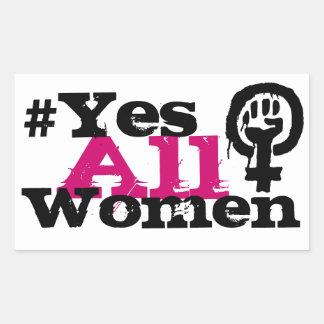 Klistermärkear för #YesAllWomenfeminismrektangel Rektangulärt Klistermärke