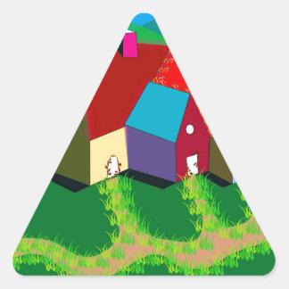 Klistermärkear med Folk konst landskap Triangelformat Klistermärke