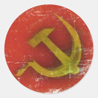 Klistermärkear med smutsar ner det gammala sovjet runt klistermärke