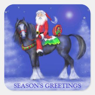 Klistermärkear - Santa på hästrygg - blåttvinter Fyrkantigt Klistermärke