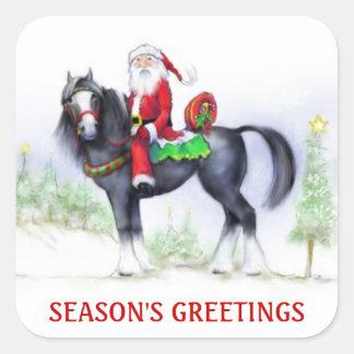 Klistermärkear - Santa på hästrygg - Fyrkantigt Klistermärke