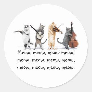 Klistermärkear/sjungande katter/jamar, jamar, rund klistermärke