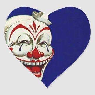 Klistermärkeclownen målar roligt lyckligt uttryck hjärtformat klistermärke
