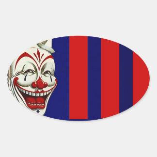 Klistermärkeclownen målar roligt lyckligt uttryck ovalt klistermärke