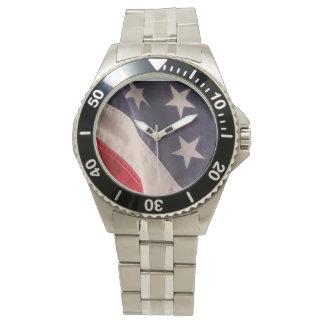Klocka för Amerika flaggarostfritt stål