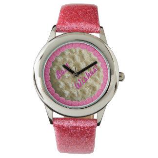 Klocka för bröllopstårta för rosa brudtärnavit