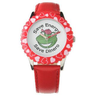 Klocka för sparaenergiDinero av gröna Eco krigare