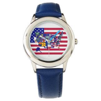 Klocka för USA statsflaggorkarta