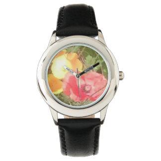 KlockaBlk men u för blomma kan rostfri välja färg Armbandsur
