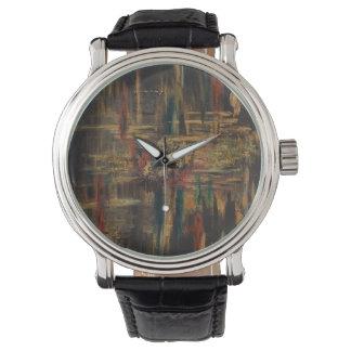 Klockan för Bach den svart vintageläder Armbandsur