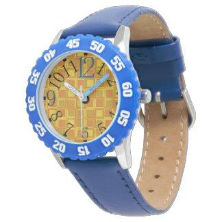 Klockan med orangen kvadrerar av 70-tal armbandsur