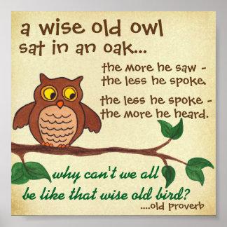 Klok gammal uggla - Proverb - mini- affisch