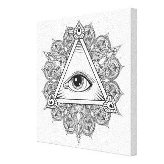 Klotter 6 för ögapyramidsymbol canvastryck