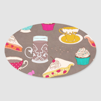 Klotter för paj för muffin för tryck för ovalt klistermärke