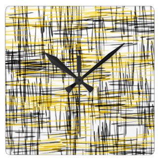 """""""Klottrar den gula gråttsvarten"""" abstrakt Fyrkantig Klocka"""
