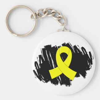 Klottrar det gula bandet för Endometriosis med Rund Nyckelring